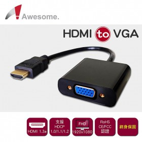 Awesome HDMI公 to VGA母轉接器A-TYPE(終身保固) A00240008-1