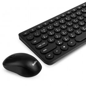 aibo 2.4G馬卡龍復古圓點無線鍵盤滑鼠組(黑色)