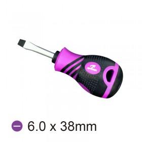 WG208 (一字6.0 長38)紫黑雙色TPR防滑起子 2SD-0638S6