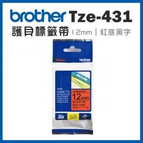 Brother TZe-431 12mm*8M 紅底黑字 標籤黏性護貝標籤帶