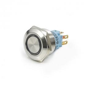 22mm不鏽鋼金屬平面雙色環形燈無段開關 DC24V 紅綠光