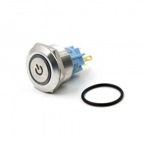 22mm不鏽鋼金屬平面電源燈有段開關-DC12V 藍光