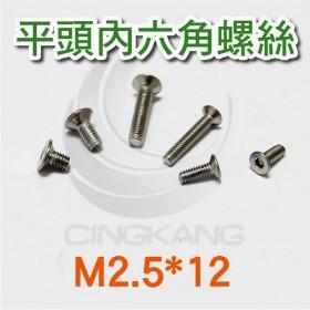 不鏽鋼平頭內六角螺絲 M2.5*12 (10pcs/包)