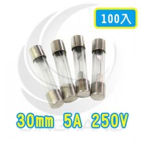 30mm 5A 250V 玻璃保險絲 鐵頭 (100PCS/盒)