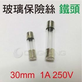 30mm  1A 250V 玻璃保險絲 鐵頭(10入)