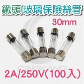 30mm 2A 250V 玻璃保險絲管 鐵頭 (100PCS/盒)