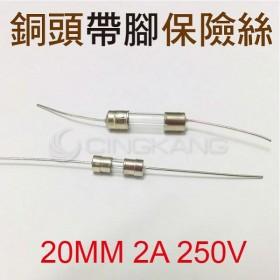20MM 2A 250V 銅頭帶腳保險絲 (10入)