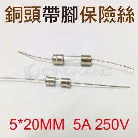 5*20MM  5A 250V 銅頭帶腳保險絲 (10入)