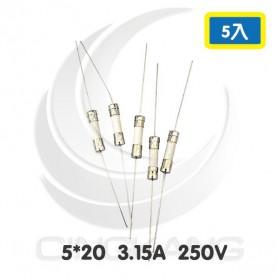 Littelfuse 5*20 3.15A 250V 慢熔 一字型陶瓷保險絲 (5入)