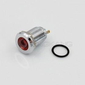12V 12mm防水不鏽鋼金屬平面-紅色(焊線式)