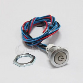 16mm天使眼開關(電源符號/有段) 紅色帶線12V(防水鋅合金)