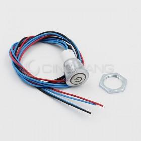 16mm天使眼開關(電源符號/有段) 白色帶線12V(防水鋅合金)
