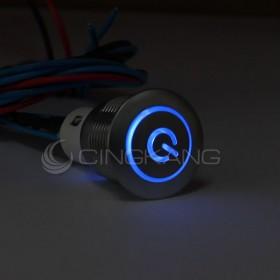 16mm天使眼開關(電源符號/有段) 藍色帶線12V(防水鋅合金)