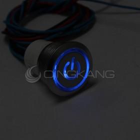 19mm天使眼開關(電源符號/有段) 藍色帶線12V(防水鋅合金)