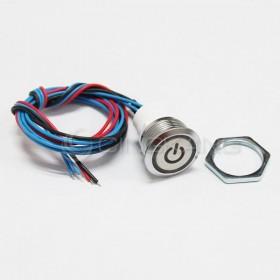19mm天使眼開關(電源符號/有段) 綠色帶線12V(防水鋅合金)