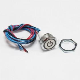 19mm天使眼開關(電源符號/有段) 紅色帶線12V(防水鋅合金)