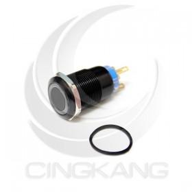 19mm銅鍍鉻(黑) 平面環形燈 無段天使眼開關-紅色 DC12V