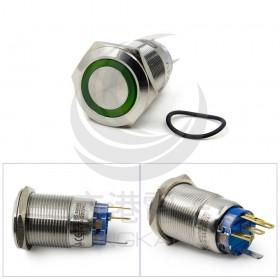 19mm不鏽鋼金屬平面環形燈有段開關 綠色