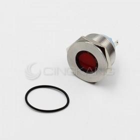 12V 22mm防水不鏽鋼金屬平面-紅色(焊線式)