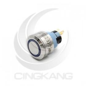 22mm不鏽鋼金屬 圓邊框 平面環形燈 無段天使眼開關-DC12V 藍光