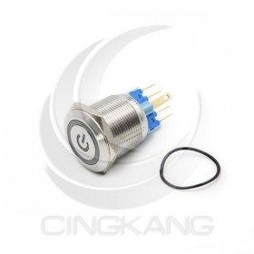 22mm不鏽鋼金屬 平面電源燈 無段天使眼開關-AC110V 藍光
