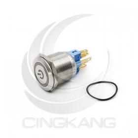 22mm不鏽鋼金屬 平面電源燈 無段天使眼開關-AC110V 紅光