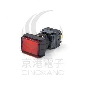 SENO 16mm長方形按鈕開關 短弧鈕覆歸 24V 紅色