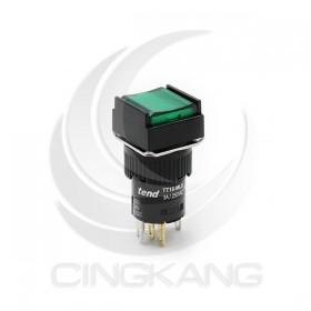 TT16-MLS47G1 天得16mm 正方形復歸照光按鈕(綠) LED 24V 1A1B