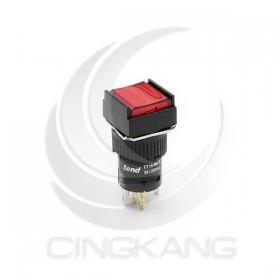 TT16-MLS42R1 天得16mm 正方形復歸照光按鈕(紅) LED 220V 1A1B