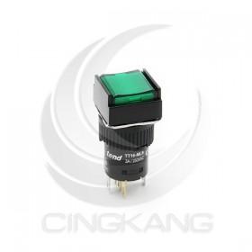 TT16-MLS42G1 天得16mm 正方形復歸照光按鈕(綠) LED 220V 1A1B