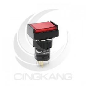 TT16-MLL42R1 天得16mm 長方形復歸照光按鈕(紅) LED 220V 1A1B