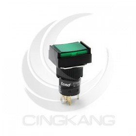 TT16-MLL42G1 天得16mm 長方形復歸照光按鈕(綠) LED 220V 1A1B