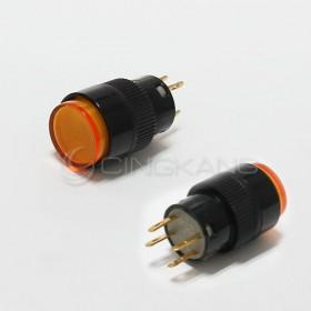 4P 丸型按式照明開關 110/220V 有段 黃色