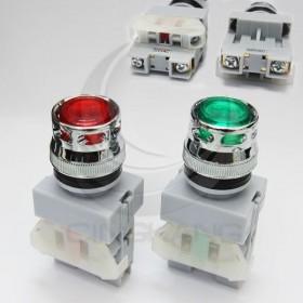 22 LED平頭照光按鈕-紅 220V 1b