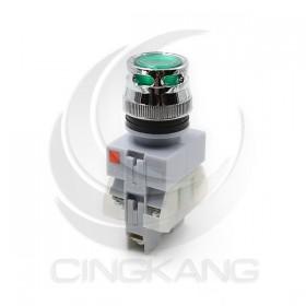 照光平頭按鈕-綠(#22) (有段) 220V 1A1B