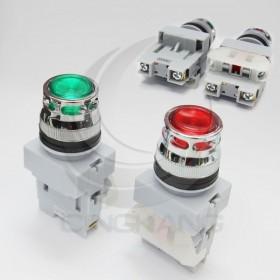 25 LED平頭照光按鈕-紅 220V 1b