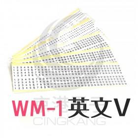 KSS 0215 WM-1 黏著性配線標誌 英文:V (80片/張)
