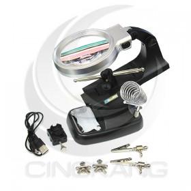 360度LED燈放大鏡3X/4.5X 輔助夾烙鐵座(TH-7023)