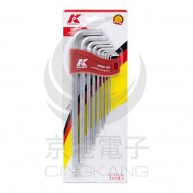 德國K牌 9支組 1.5-10mm 長L型圓頭六角扳手組 W969-H9
