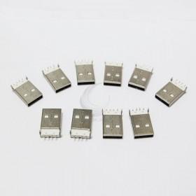 USB A型公頭 180度腳位 (10入) 白底