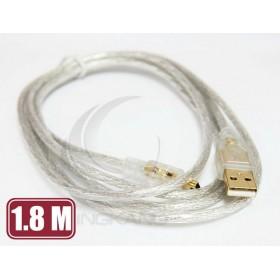 USB A公-迷你5PIN鍍金透明傳輸線1.8M(UB-195)