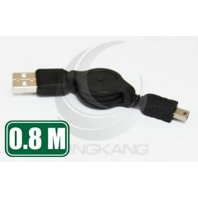 USB2.0 A公-MINI 5P公易拉線 80公分(UB-102)
