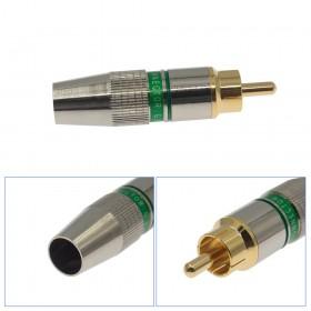 純銅鍍金 RCA插頭 AV視頻頭/接線孔8mm 綠