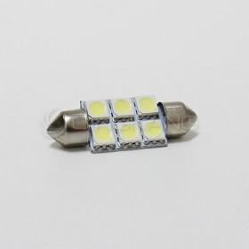 5050白光 雙尖頭 36mm LED 6晶 DC12V