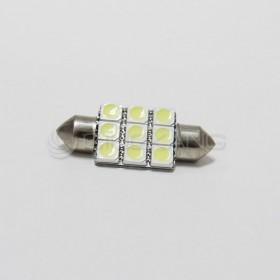 5050白光 雙尖頭 36mm LED 9晶 DC12V