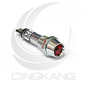 井型銅指示燈12V-紅色 牙8mm36mm總長 (LED)