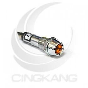 井型銅指示燈12V-黃色 牙8mm36mm總長 (LED)