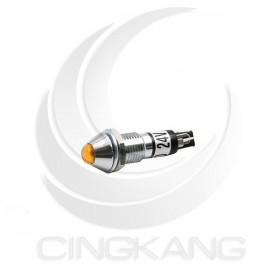 3217-1F-Y LED 24V指示燈-銅殼尖型 8MM 黃色