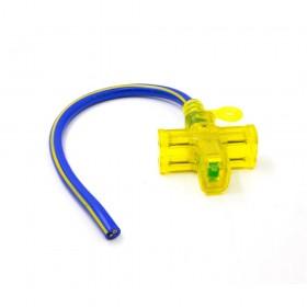 2.0*2蕊 十字型動力線 單頭帶線 附燈 11A 125V 1尺(30cm)