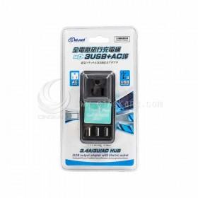 全電壓旅行充電頭3USB 3.4A+AC埠 3.4A